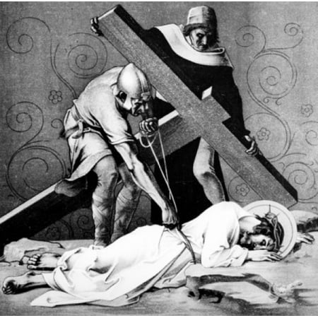 Jesus Falls the Third Time (9th station of the Cross) by Martin Ritter von Feuerstein oil painting circa 1898 1856 - 1931 Germany Munich Saint Anna Church Canvas Art - Martin Ritter von Feuerstein (24
