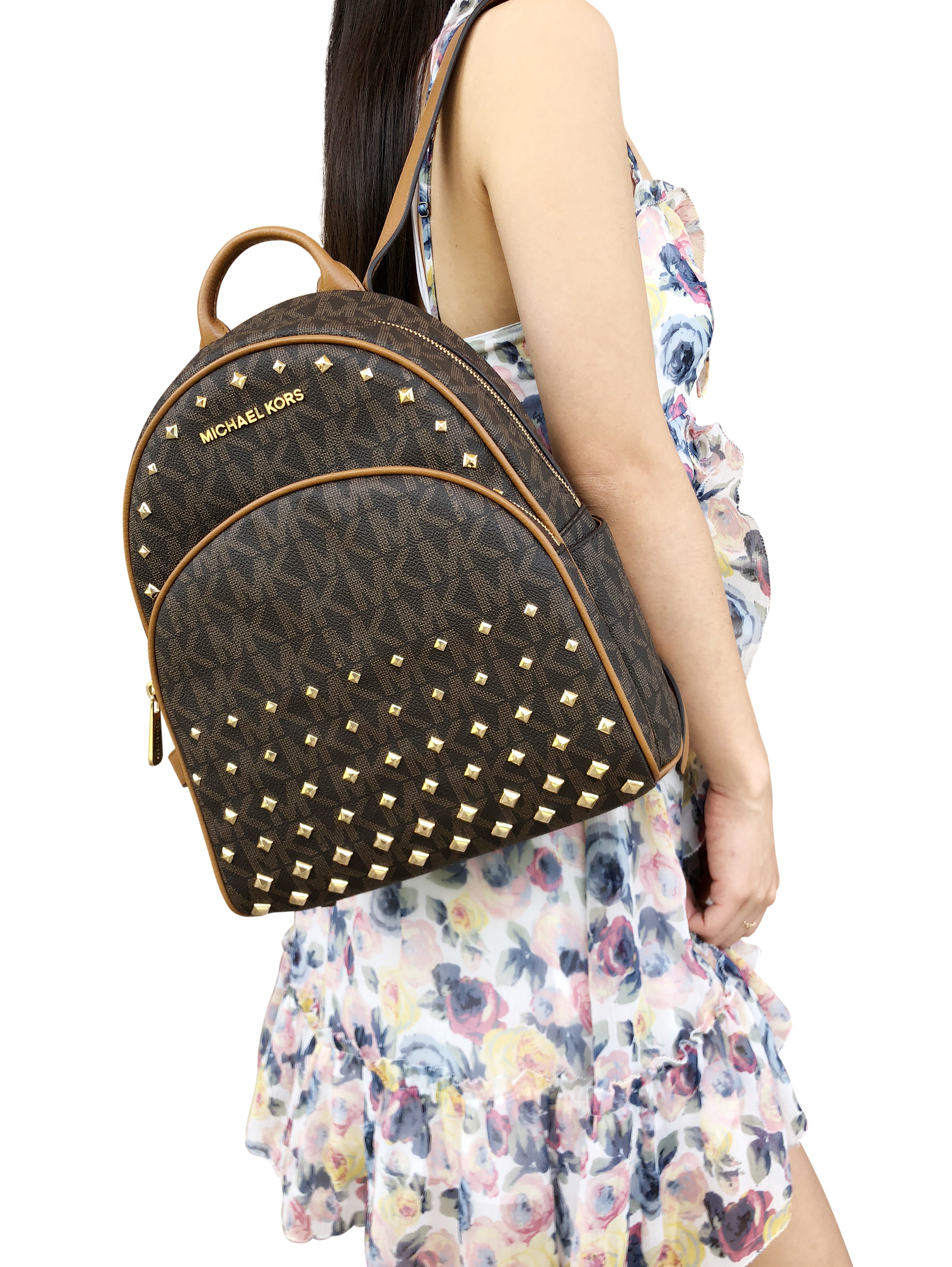 Abbey Medium Backpack Brown MK Signature Stud Acorn