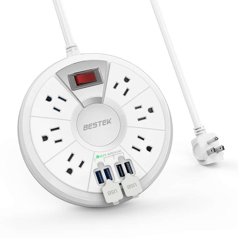 BESTEK 6-Outlet Power Strip Surge Protector with 6-Foot Extension Cord and 4 USB Charging Ports - Quick Charge 2.0