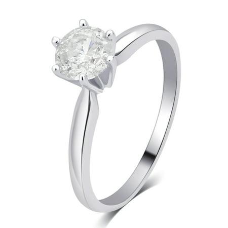 1/4 Carat T.W. Round Diamond 14K White Gold Solitaire Engagement Ring 1/4 Carat Blue Diamond Solitaire