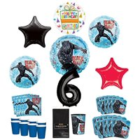 Black Panther Party Supplies 8 Guests 6th Birthday Balloon Bouquet Decorations