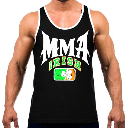 Black Mix Apparel - Men's MMA Team Irish Tee White Trim Black Tank Top X-Large Black