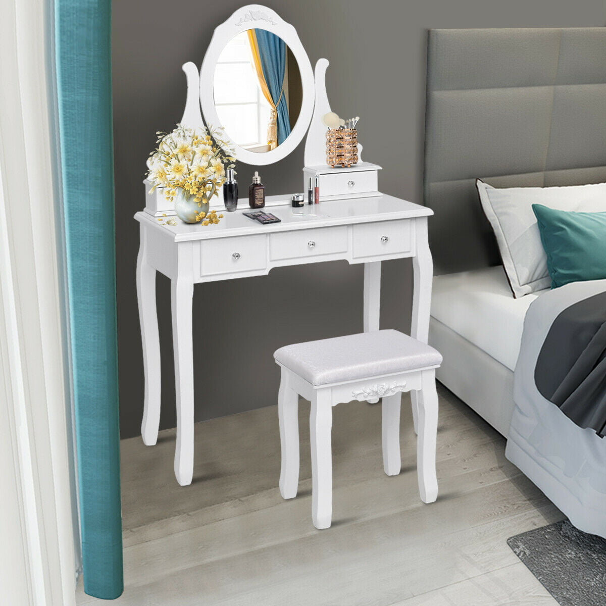 Gymax Bedroom Wooden Mirrored Makeup Vanity Set Stool Table Set White 5 Drawers Walmart Com