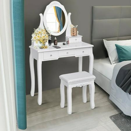 Gymax Bedroom Wooden Mirrored Makeup Vanity Set Stool Table ...