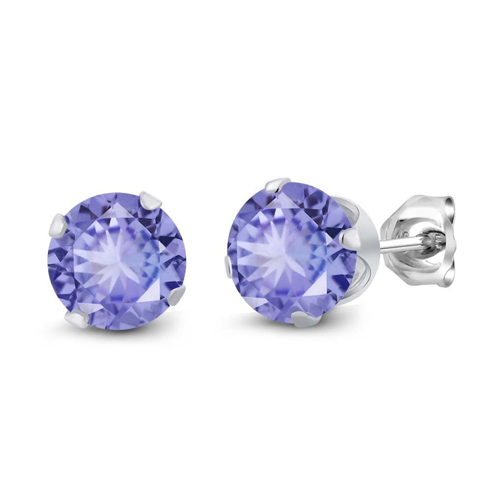 1.60 Ct Round Blue Tanzanite Sterling Silver 4-prong Stud Earrings 6mm