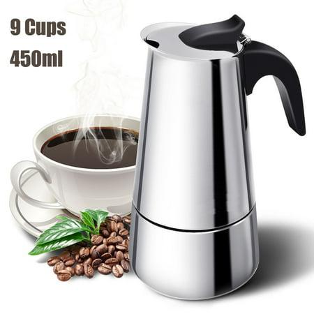S-morebuy 450ml Moka Coffee Maker, Stainless Steel Percolator Moka Pot Espresso Coffee Maker Stove 9 Cups Home Office Use Stainless Coffee Percolator
