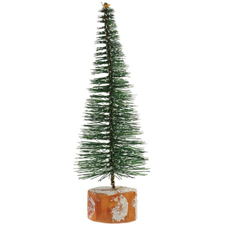 Mini Christmas Village Display.7 Frosted Green Bottle Brush Artificial Mini Pine Christmas Tree