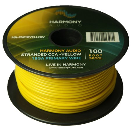 Harmony Audio HA-PW18YELLOW Primary Single Conductor 18 Gauge Yellow Power or Ground Wire Roll 100 Feet Cable for Car Audio / Trailer / Model Train / Remote