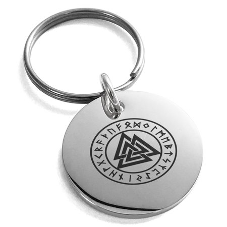 Stainless Steel Norse Valknut Knot Viking Engraved Small Medallion Circle Charm Keychain Keyring (Monkey Fist Knot Keychain)