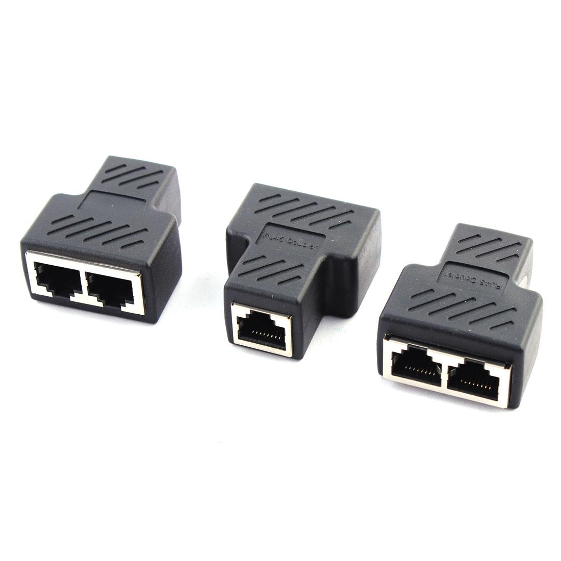 Unique BargainsRJ45 1 to 2 Port Female to Female Network Ethernet LAN Splitter Adapter 3 PCS