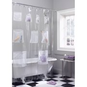 Zenna Home Mesh Pockets PEVA Clear Storage Shower Curtain