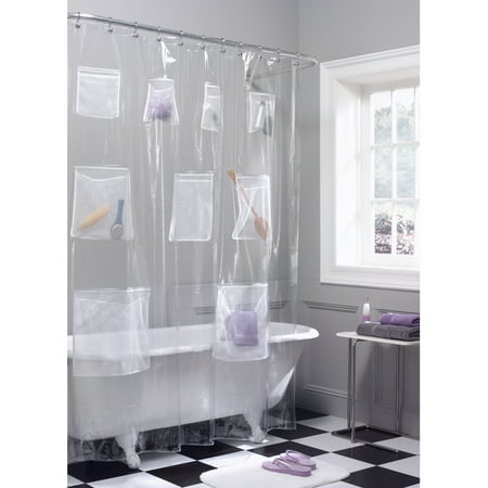 Maytex Mesh Pockets PEVA Storage Shower Curtain Clear