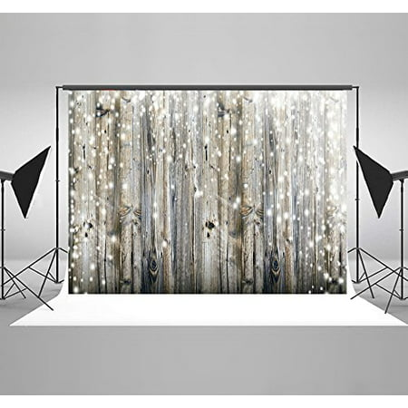 HelloDecor Polyster 7x5ft Vintage Grey Wood Christmas Photography Backdrops Polka Background for Children - Christmas Backgrounds For Photography