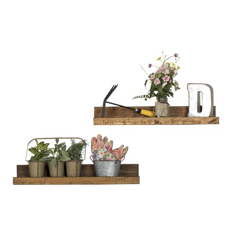 Rustic Luxe Shallow Floating Shelves, Set of 2 Dark Walnut