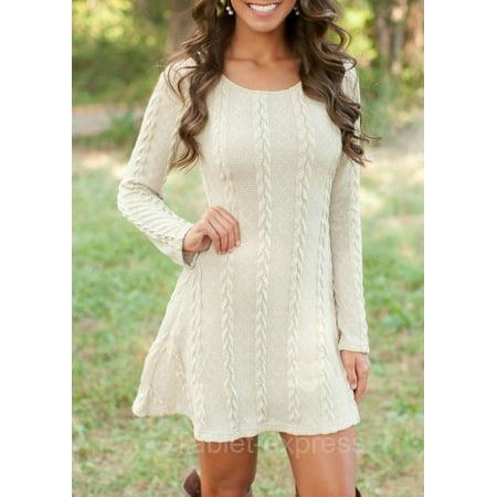 Women's New Spring Winter Long Sleeve Jumper Tops Knitted Sweater Mini Dress (White S