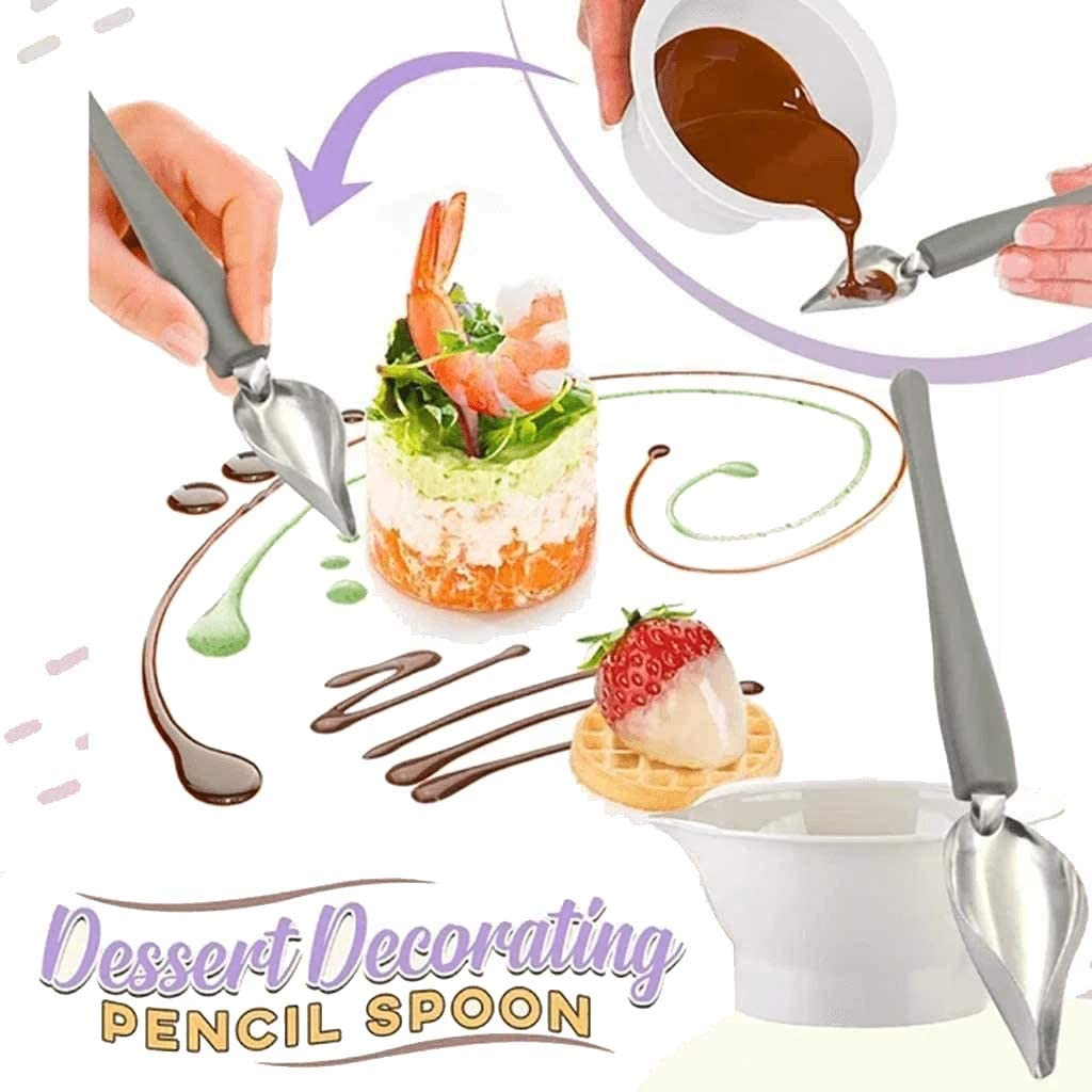 1 Set Hemao Decorating Spoon ,Sauce Plating Art Pencil,Stainless Steel Chocolate Pencil Tools ,Precision Culinary Drawing Decorating Spoons Set