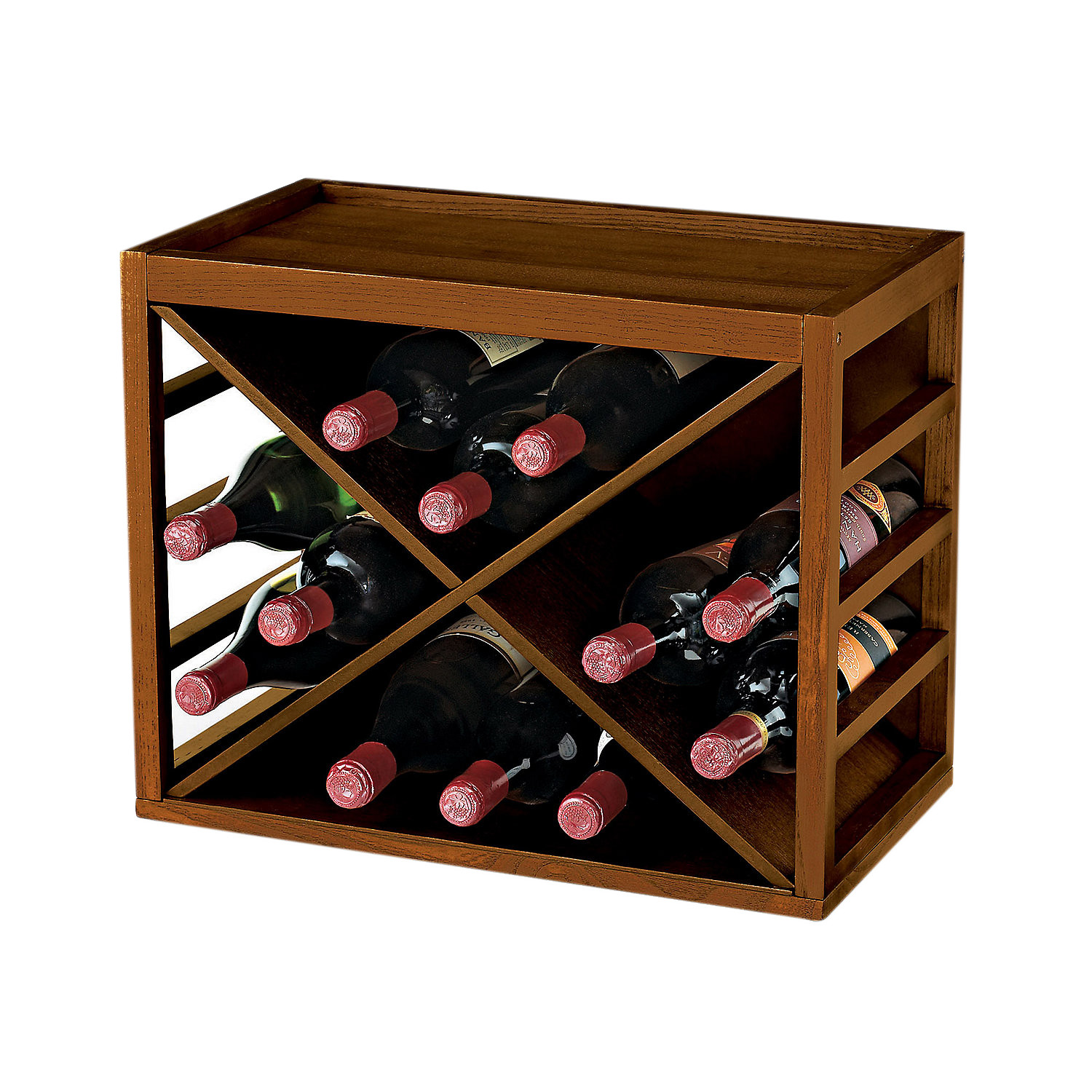 wine enthusiast bottle x cube stackable hardwood wine rack  - wine enthusiast bottle x cube stackable hardwood wine rack  walmartcom