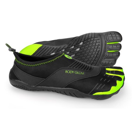 143964aa4d56 Body Glove Men s 3T Barefoot Cinch Black and Neon Green Water Shoes ...