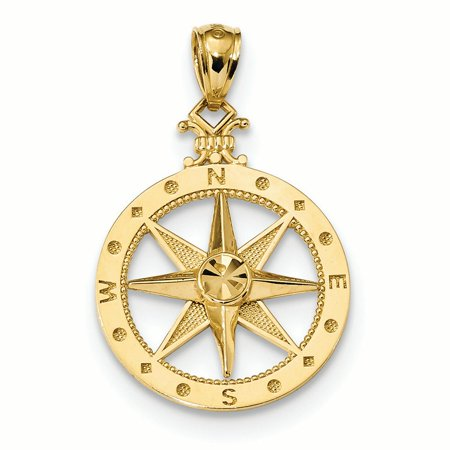 14K Yellow Gold Compass Charm
