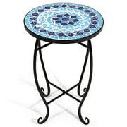 Costway Outdoor Indoor Accent Table Plant Stand Cobalt Blue Color Scheme Garden Steel