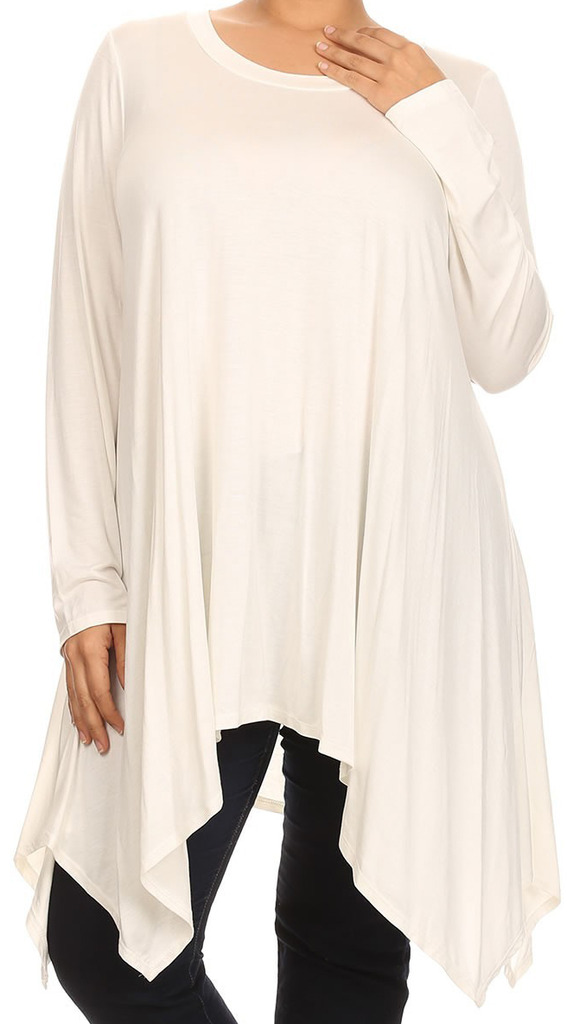 BNY Corner Women Plus Size Long Sleeve Asymmetrical Hem Casual Tunic Top Shirt Ivory XL (D396 SD)