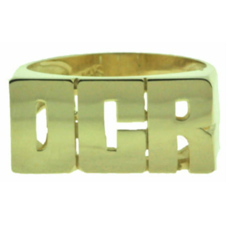 Personalized 8MM Initial Ring - Name Ring Unisex Block Style 8mm 14K Yellow or 14K White Gold.  Special Order, Made to Order. PMR025Y Block Initial Ring