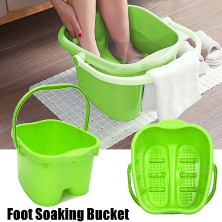 Green Japanese Foot Soaking Bucket Basin Tub Spa Bath Detox Soak/Scrub Both