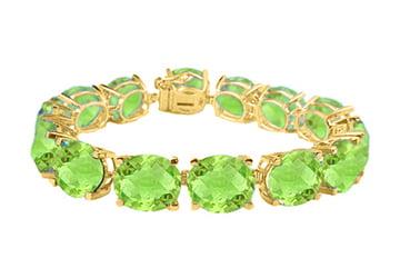 Oval Peridot Bracelet in 18K Yellow Gold Vermeil 50 CT TGW August Birthstone Jewelry by Love Bright