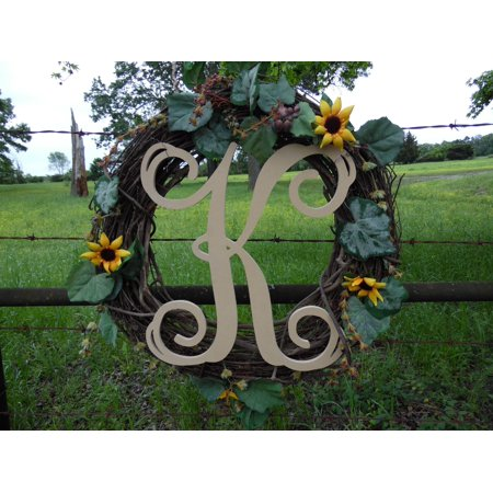 Wooden Letter Vine (K) Unfinished Wood Craft Letter, Paintable Wall - Paintable Wall Circles