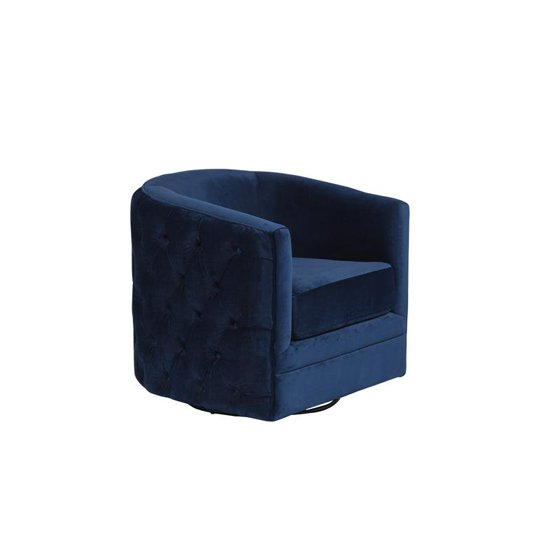 Enjoyable Gabby Tufted Velvet Microfiber Swivel Chair Navy Blue Pdpeps Interior Chair Design Pdpepsorg