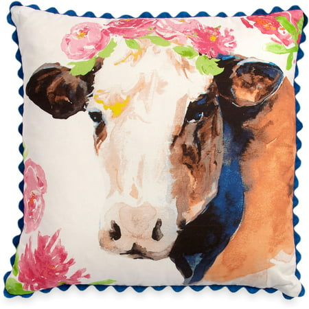 Cow Decor - The Pioneer Woman Flower Cow 16x16 Decorative Pillow