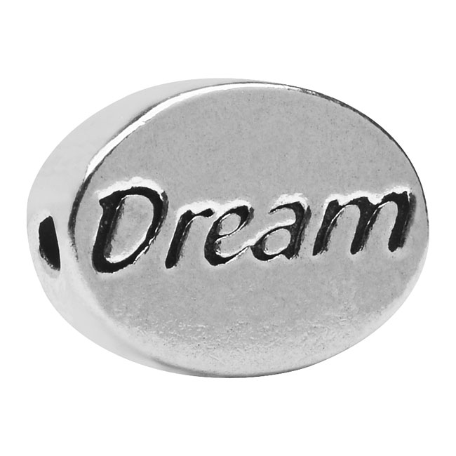 Lead-Free Pewter Message Bead, 'Dream' 11x8mm, 1 Piece, Antiqued Silver