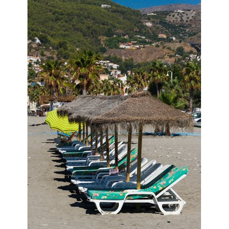 Canvas Print Beach Beach Furniture Relaxation Vacation Holiday Stretched Canvas 32 x 24 ()