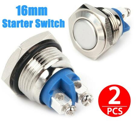EEEKit Starter Switch, 2-Pack 16mm Waterproof Stainless Steel Starter Switch Boat Horn Momentary Push Button