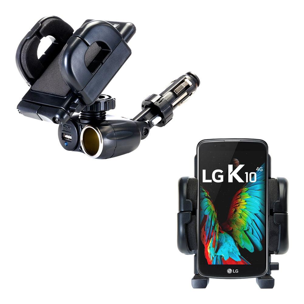 Dual USB / 12V Charger Car Cigarette Lighter Mount and Holder for the LG K8 / K10