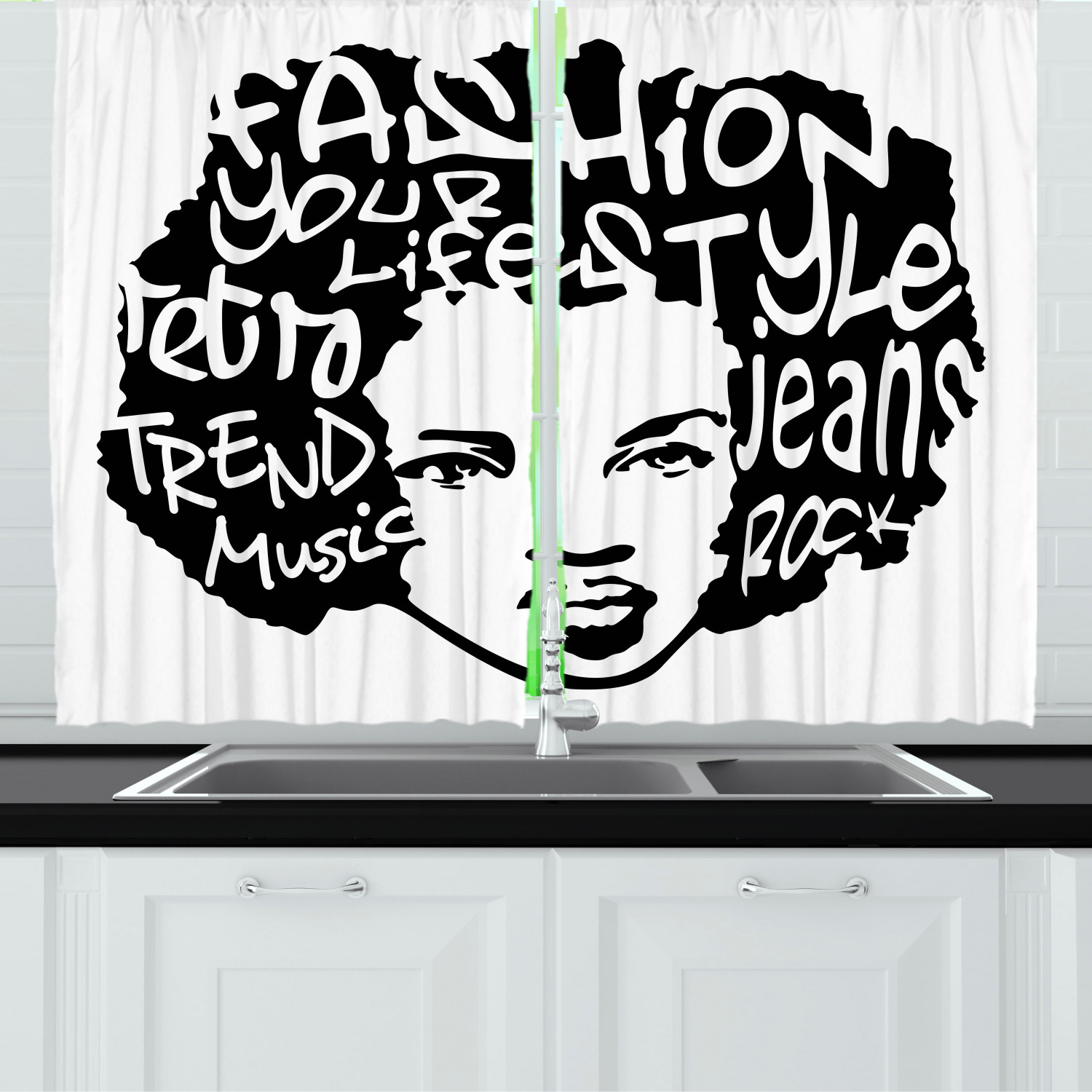 Urban Graffiti Curtains 2 Panels Set Fat Cap Spray Painted Style Typographic Words On A Afro Haired Girl Window Drapes For Living Room Bedroom 55w X 39l Inches Black And White By