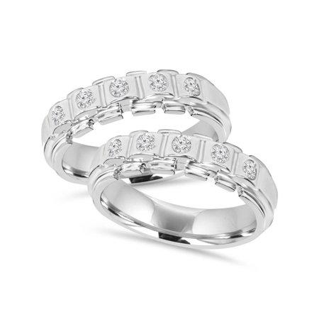 His Hers Diamond Matching Wedding Ring Band Set Solid 14k White