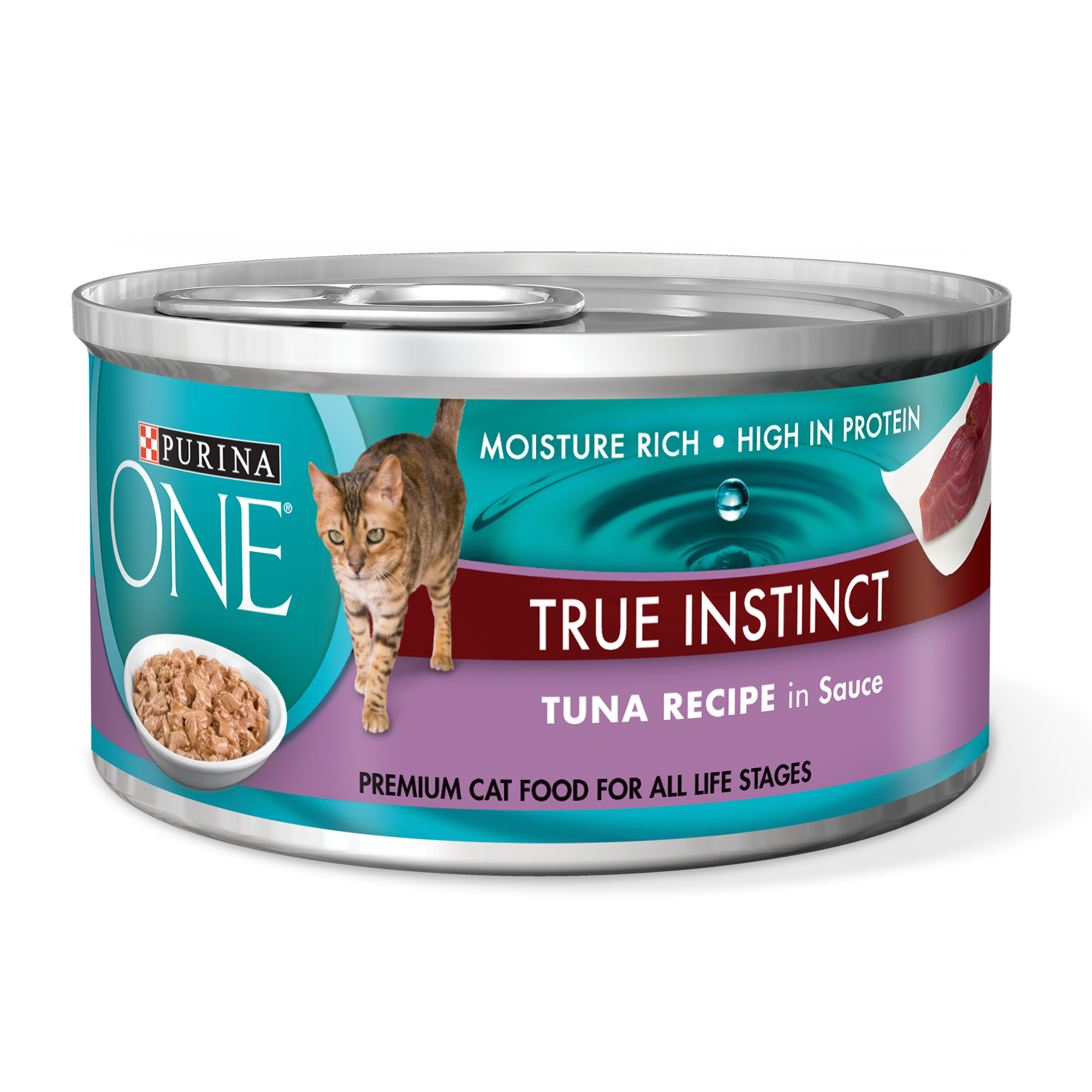 (4 Pack) Purina ONE True Instinct Tuna Recipe in Sauce Wet Cat Food - 3 oz. Pull-Top Can
