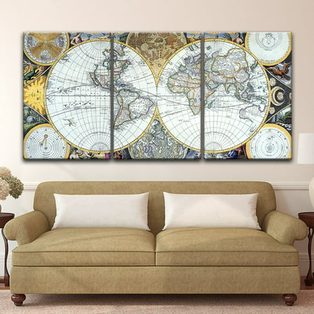 (wall26 - 3 Panel Canvas Wall Art - Vintage World Map - Giclee Print Gallery Wrap Modern Home Decor Ready to Hang - 24