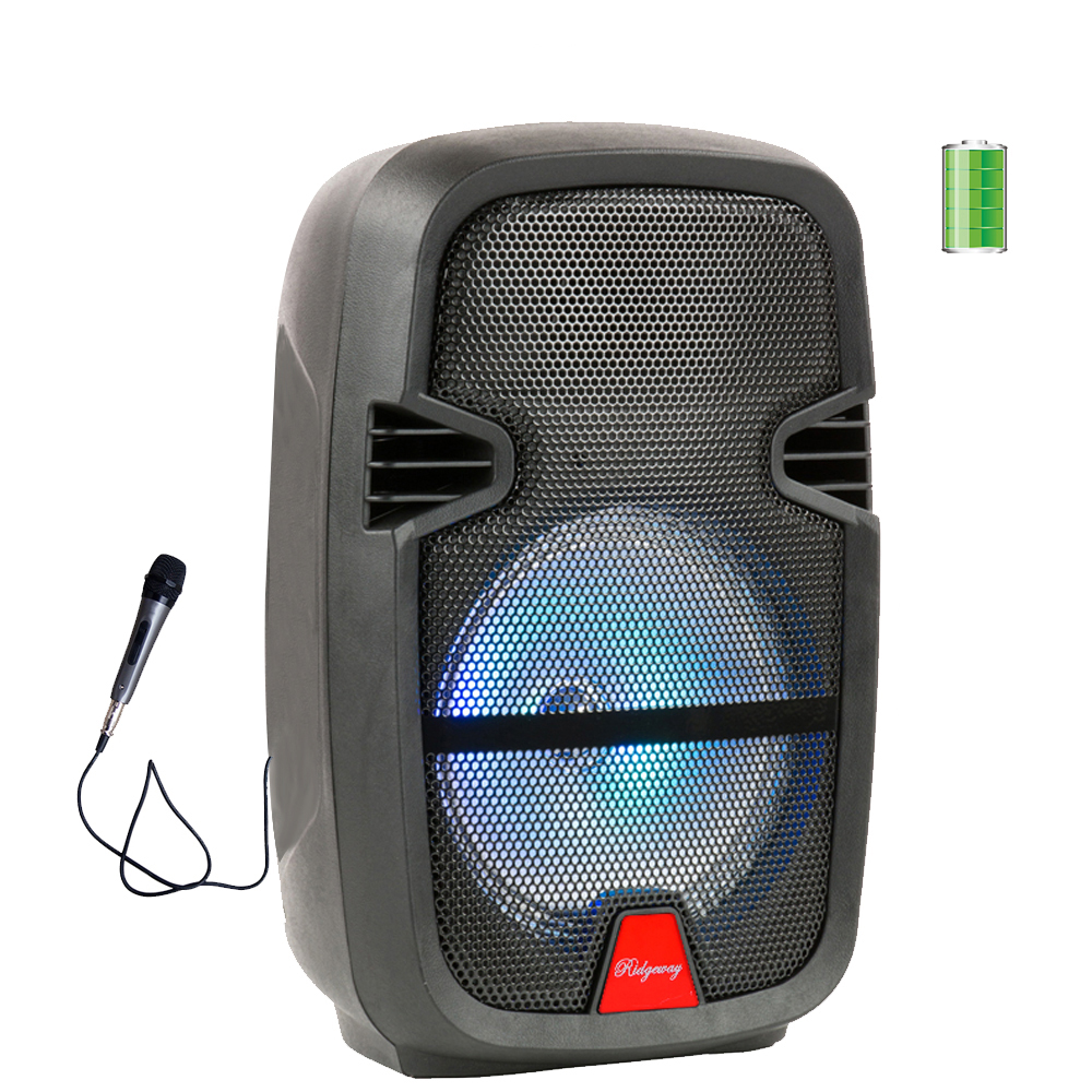 "Ridgeway QS-2508BR 8"" Portable BT PA Speaker Built-in Battery Trolley Outdoor Speaker with Lights USB SD FM AUX"
