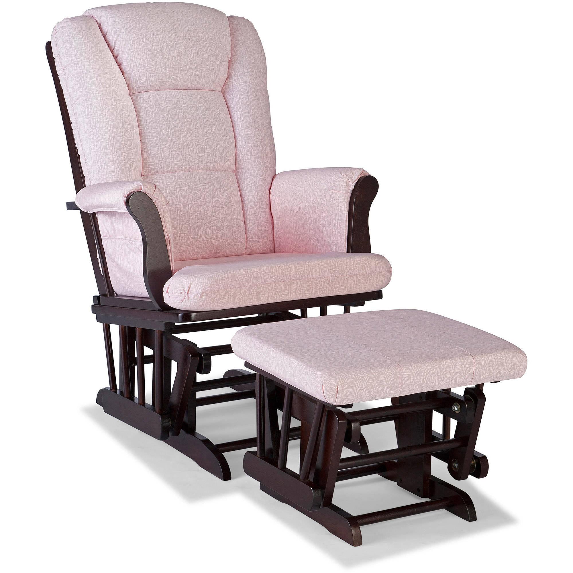 Storkcraft Swirl Tuscany Glider and Ottoman incl Lumbar Pillow, Pink Blush Cushions, Choose Your Finish