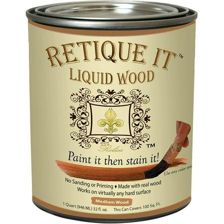Retique It Liquid Wood - Medium Wood Quart - Paint it then stain it - Stainable Wood Fiber Paint - Put a fresh coat of wood on it (32oz Medium - Bake On Paint