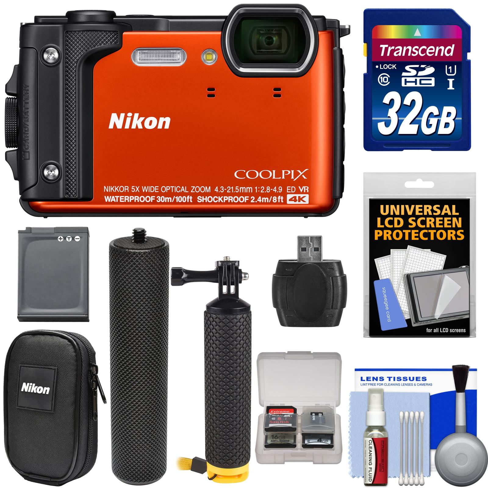 Nikon Coolpix W300 4K Wi-Fi Shock & Waterproof Digital Camera (Black) with 32GB Card + Battery + Case + Grip + Floating Handle + Kit