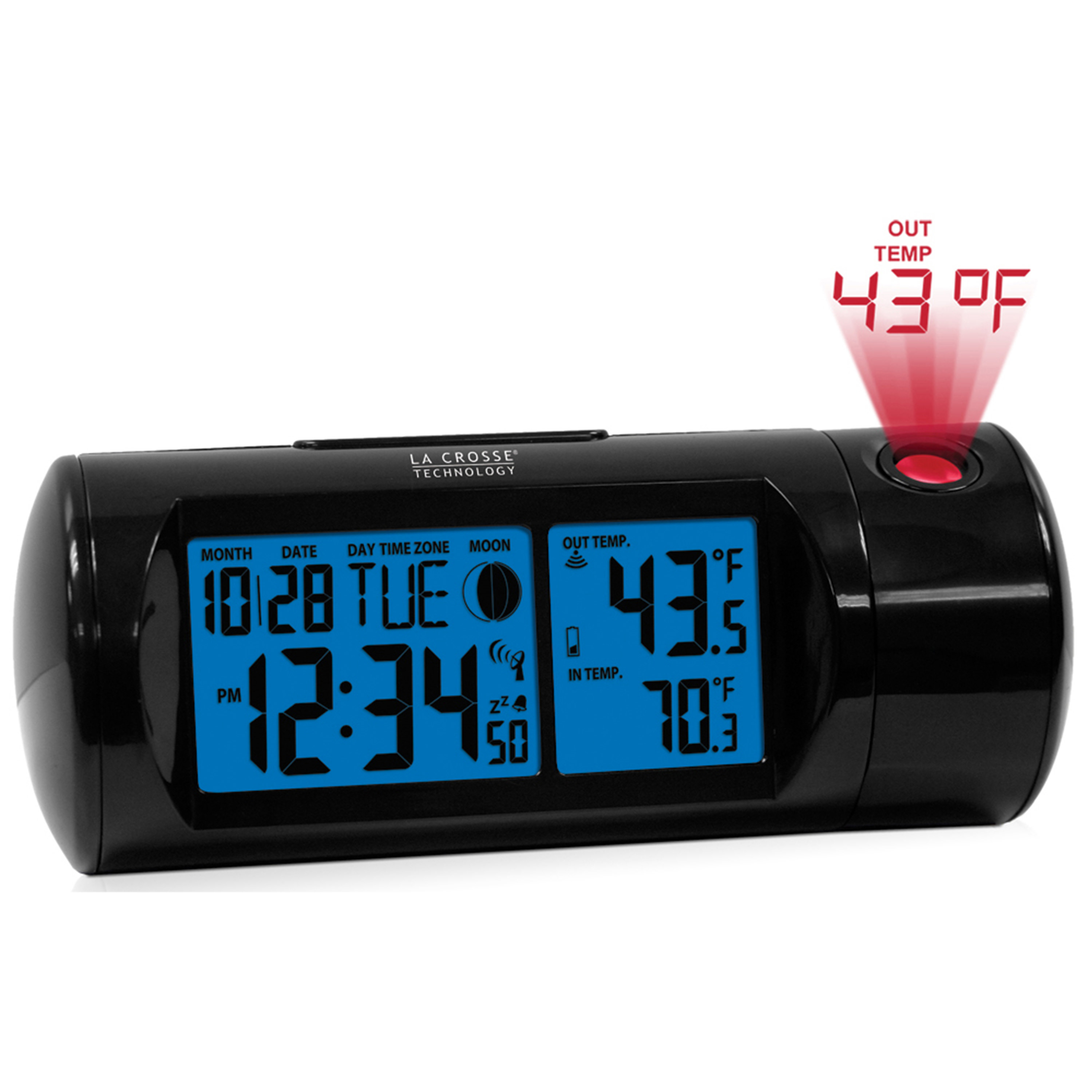 La Crosse Technology 616-143 Atomic Projection Alarm clock with Indoor and Outdoor temperature