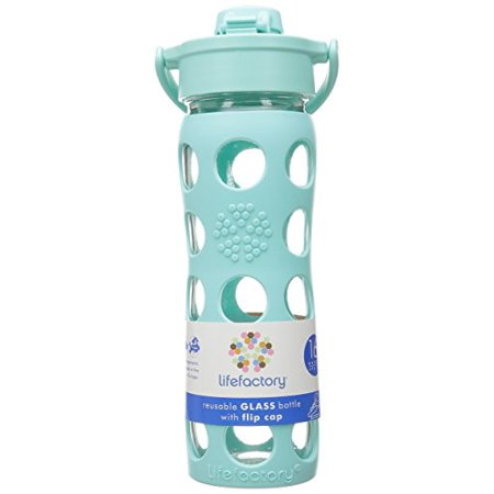 Lifefactory Flip Cap Glass Bottle With Sleeve