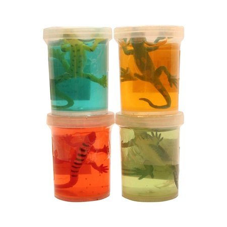4 Lizard Slimes - Fun Slime with Reptile Figurine - Putty - Goo - Party Favors and Goodie Bags (Reptile Party)