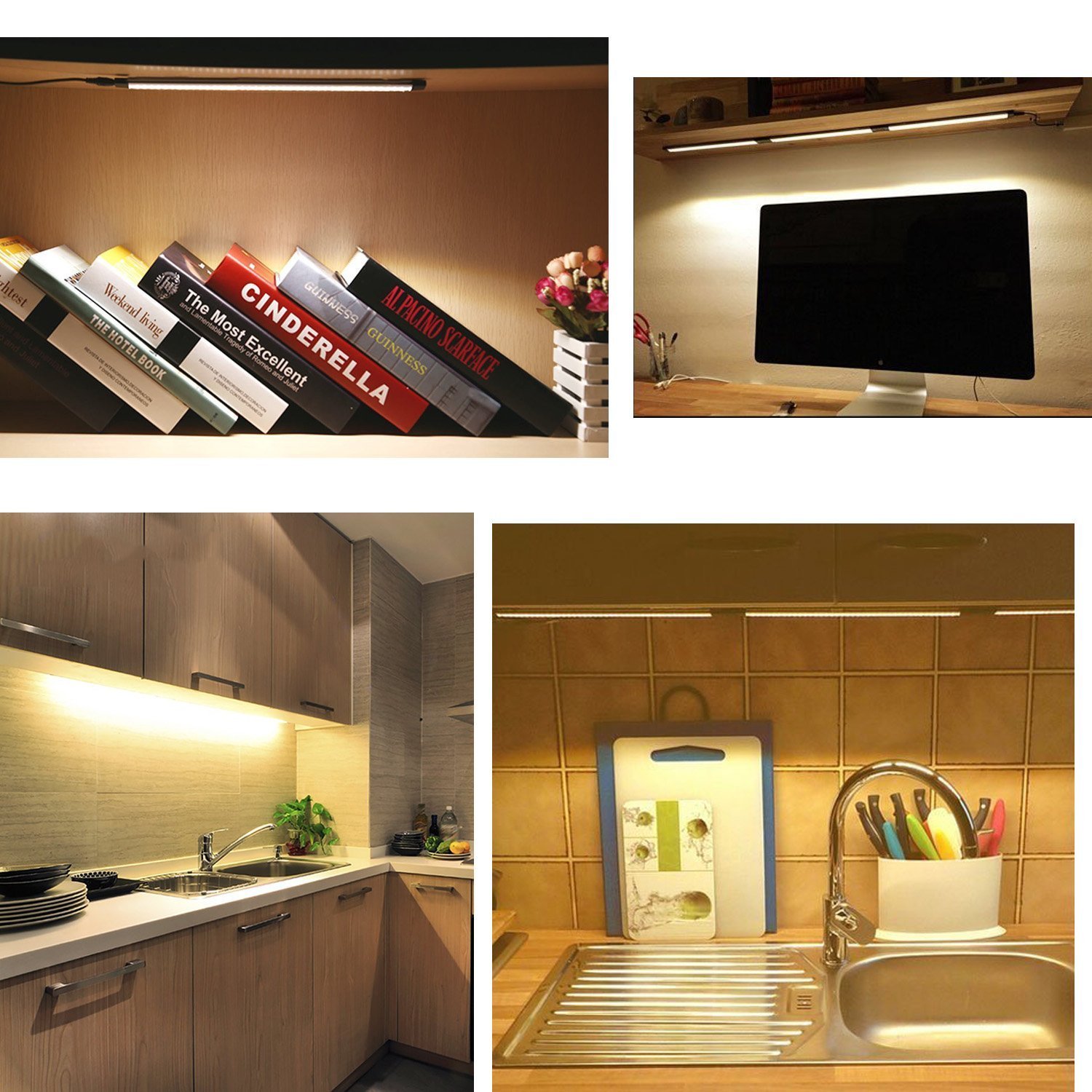 Ultra Thin LED Under Cabinet//Counter Kitchen Lighting Plug In, Dimmable 2  Coin Thickness LED ...