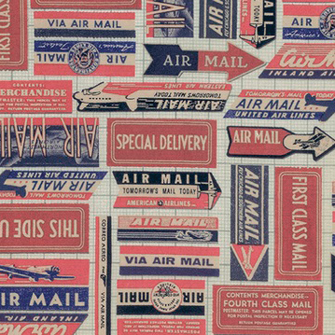 "Eclectic Elements Correspondence-Tim Holtz 45"" 100% Cttn D/R-Air Mail - Red"