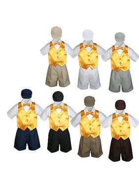 5pc Boy Toddler Formal Yellow Vest Bow Tie Black Brown Gray Navy Hat Shorts S-4T