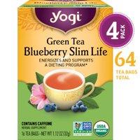 (Pack of 4) Yogi Tea, Green Tea Blueberry Slim Life Tea, Tea Bags, 16 Ct, 1.12 OZ